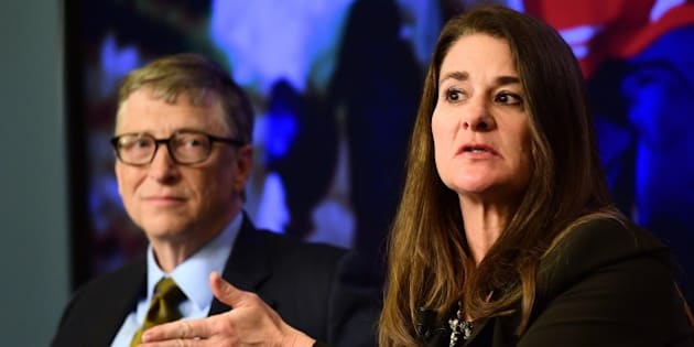 Bill (L) and Melinda Gates, founders of the Bill and Melinda Gates Foundation, take part in a discussion organised by British magazine The Economist about expected breakthroughs in the next 15 years in health, education, farming and banking on January, 22, 2015 in Brussels. AFP PHOTO / EMMANUEL DUNAND        (Photo credit should read EMMANUEL DUNAND/AFP/Getty Images)