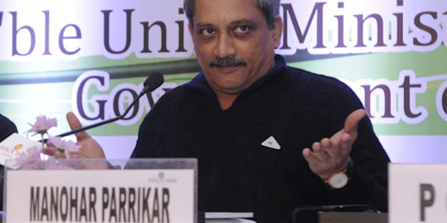 NEW DELHI, INDIA - JANUARY 5: Defence Minister Manohar Parrikar addressing the 7th International Conference on Aerospace, Defence & Homeland Security on January 5, 2015 in New Delhi, India.  Indian Defence Minister Parrikar said that circumstantial evidence points that occupants of Pakistani boat which sank after being intercepted near the India- Pakistan maritime boundary, were suspected terrorists not smugglers. (Photo by Sushil Kumar/Hindustan Times via Getty Images)