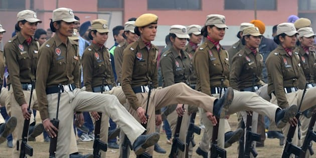 Indian Punjab state police women participate in a rehearsal for the upcoming 66th Republic Day parade in Amritsar on January 20, 2015. India will celebrate its 66th Republic Day on January 26. AFP PHOTO/NARINDER NANU        (Photo credit should read NARINDER NANU/AFP/Getty Images)