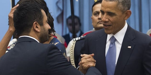 US President Barack Obama greets actor Kal Penn during a receiving line before a State Dinner at Rashtrapati Bhawan, the Presidential Palace, in New Delhi, India, January 25, 2015. AFP PHOTO / SAUL LOEB        (Photo credit should read SAUL LOEB/AFP/Getty Images)