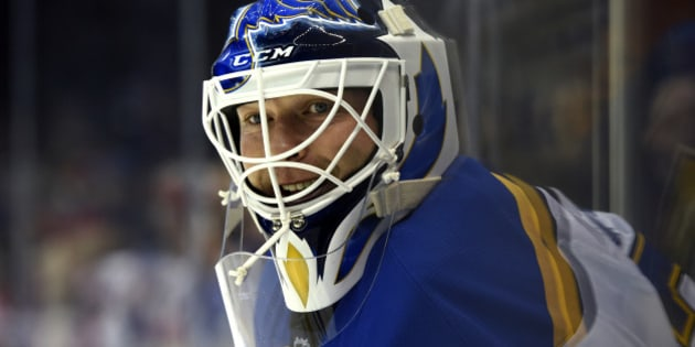 St. Louis Blues new goalie Martin Brodeur (30) waits for his turn in goal during practice before the NHL hockey game against the New York Islanders at Nassau Coliseum on Saturday, Dec. 6, 2014, in Uniondale, N.Y. (AP Photo/Kathy Kmonicek)