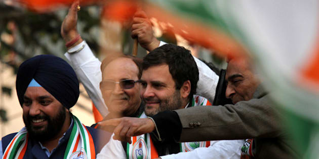 DELHI, INDIA - 2015/01/27: Indian National Congress Vice President Rahul Gandhi (center) along with other senior Congress leaders participate in road show at Kalkaji Transit Camp for the upcoming election in New Delhi on 7 February 2015 . (Photo by Deepak Malik/Pacific Press/LightRocket via Getty Images)