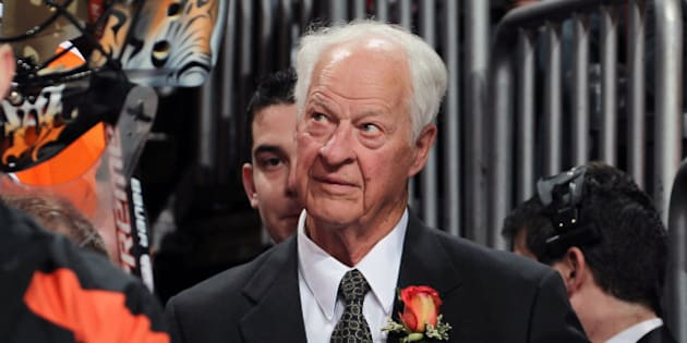 PHILADELPHIA, PA - MARCH 06:  Gordie Howe looks on during his son's Mark Howe of the Philadelphia Flyers number-retirement ceremony on March 6, 2012 at the Wells Fargo Center in Philadelphia, Pennsylvania. The Flyers would go on to defeat the Detroit Red Wings 3-2.  (Photo by Len Redkoles/NHLI via Getty Images)