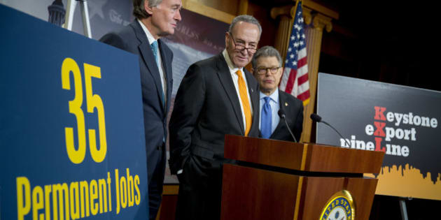 Senator Edward 'Ed' Markey, a Democrat from Massachusetts, from left, Senator Charles Schumer, a Democrat from New York, and Senator Al Franken, a Democrat from Minnesota, hold a news conference on Keystone XL pipeline amendments at the U.S. Capitol in Washington, D.C., U.S., on Tuesday, Jan. 20, 2015. Senate Democratic leaders will push hard for full Senate vote on an amendment to Keystone XL pipeline legislation that puts all senators on record on their views about whether carbon emissions spark climate change, said Schumer. Photographer: Andrew Harrer/Bloomberg via Getty Images