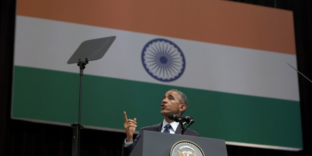 U.S. President Barack Obama speaks at the Siri Fort Auditorium in New Delhi, India, Tuesday, Jan. 27, 2015. (AP Photo/Carolyn Kaster)