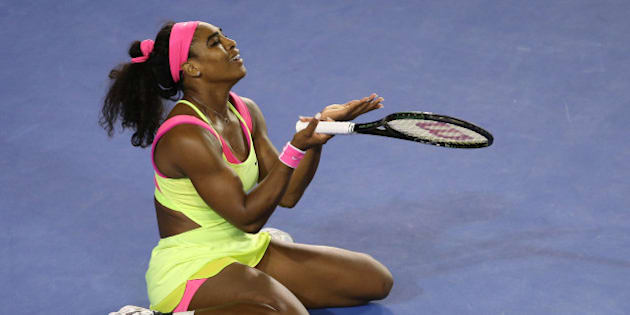 MELBOURNE, AUSTRALIA - JANUARY 31:  Serena Williams of the United States reacts to a point in her women's final match against Maria Sharapova of Russia during day 13 of the 2015 Australian Open at Melbourne Park on January 31, 2015 in Melbourne, Australia.  (Photo by Patrick Scala/Getty Images)