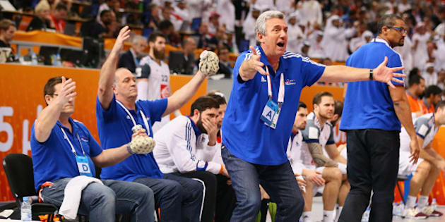DOHA, QATAR - FEBRUARY 01:  Head coach Claude Onesta of France during the final match between Qatar and France in the Men's Handball World Championship at Lusail Multipurpose Hall on February 1, 2015 in Doha, Qatar.  (Photo by Christof Koepsel/Bongarts/Getty Images)