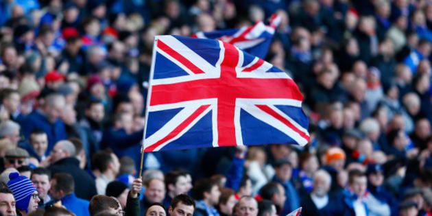 GLASGOW, SCOTLAND - FEBRUARY 01:  Fans fly a Union Jack flag during the Scottish League Cup Semi-Final between Celtic and Rangers at Hampden Park on February 1, 2015 in Glasgow, Scotland.  (Photo by Julian Finney/Getty Images)