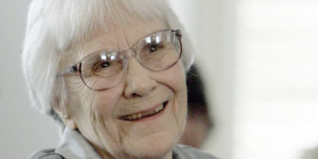 Author Harper Lee smiles during a ceremony honoring the four new members of the Alabama Academy of Honor, Monday, Aug. 20, 2007, in at the Capitol in Montgomery, Ala. (AP Photo/Rob Carr)