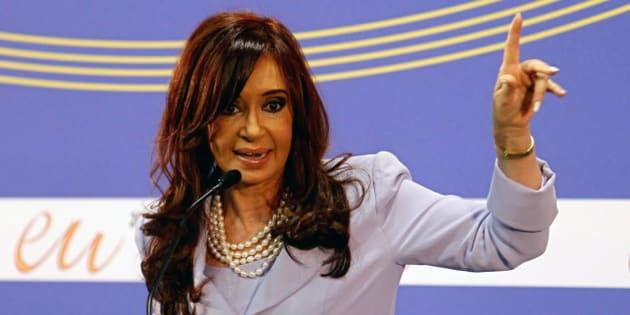 Argentina's President Cristina Kirchner speaks during a news conference after a Mercosur-EU summit meeting in Madrid, Monday, May 17, 2010. (AP Photo/Victor R. Caivano)