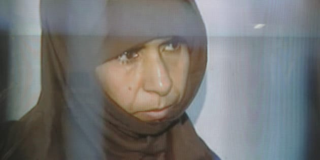 This image made from Jordan television Monday, April, 24, 2006. shows Sajida Mubarak al-Rishawi. Veiled and speaking in a low voice, the woman suicide-bomber who failed to blow herself up in a Jordanian hotel last year went on trial Monday charged for the attacks that killed 63 people. Sajida Mubarak al-Rishawi, 35, is standing trial for the near simultaneous attacks on three hotels in Amman on Nov. 9 in which she, her husband and two other suicide bombers took part. Al-Rishawi's explosives-belt failed to detonate and she was arrested after fleeing the scene. On Monday she stood in the dock alone as she is the only one of the eight defendants who is in custody. (AP Photo/Jordan Television)