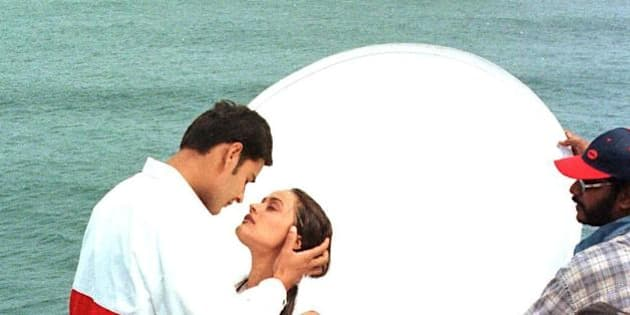 MURIWAI, NEW ZEALAND:  Former Miss India Namrata Shirodhkar (2nd L) shares an intimate moment with leading man Mahesh Babu (L) and a film crew at a gannet colony at Muriwai in New Zealand 07 April 2000, during the shooting for an as yet unnamed romance for the Hyderabad market. In the last two years 38 Bollywood movies have been shot in New Zealand, with Indian filmmakers flooding in since the success of last year's blockbuster 'Kaho Na Pyar Hai.'      AFP PHOTO/Michael Field (Photo credit should read MICHAEL FIELD/AFP/Getty Images)