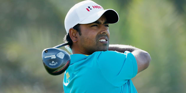 ABU DHABI, UNITED ARAB EMIRATES - JANUARY 16:  Anirban Lahiri of India watches his tee shot on the ninth hole during the second round of the Abu Dhabi HSBC Golf Championship at the Abu Dhabi Golf Cub on January 16, 2015 in Abu Dhabi, United Arab Emirates.  (Photo by Scott Halleran/Getty Images)