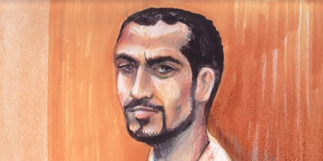 In this artists rendering, Omar Khadr appears in an Edmonton courtroom, Monday, Sept. 23, 2013. Khadr's lawyer is arguing that his client should be moved from a maximum security prison to a provincial jail. The Toronto-born Khadr was 15 when he was captured by American soldiers in Afghanistan. He last appeared in court in Guantanamo Bay, where he pleaded guilty to five war crimes in October 2010 before a U.S. military commission. He was given an eight-year sentence. (AP Photo/The Canadian Press, Amanda McRoberts)