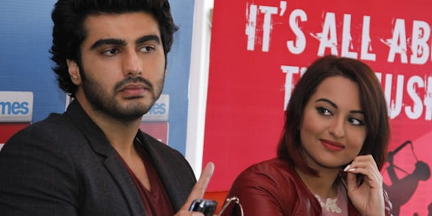 NEW DELHI, INDIA - JANUARY 5: Bollywood actors Arjun Kapoor and Sonakshi Sinha during an exclusive interview for their upcoming movie Tevar at HT Media Office on January 05, 2015, New Delhi, India. (Photo by Waseem Gashroo/Hindustan Times via Getty Images)