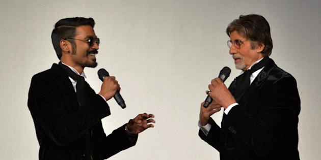 MUMBAI, MAHARASHTRA  JANUARY 07 : Amitabh Bachchan and Dhanush at the trailer launch of SHAMITABH.(Photo by Milind Shelte/India Today Group/Getty Images)