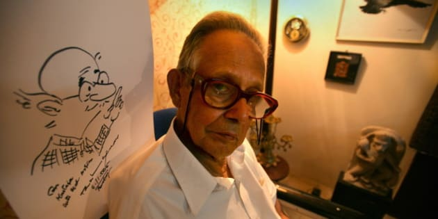 INDIA - NOVEMBER 06:  RK Laxman, Cartoonist with a sketch of his most famous character 'Common Man' at his Residence in Mumbai, Maharashtra, India  (Photo by Mustafa Quraishi/The India Today Group/Getty Images)