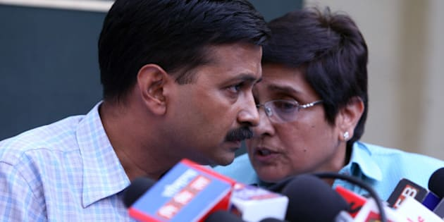 NEW DELHI, INDIA - APRIL 21: Civil society activists Arvind Kejriwal, a member of Lokpal Bill drafting committee, and Kiran Bedi during a press conference in New Delhi on Thursday. (Photo by Parveen Negi/India Today Group/Getty Images)
