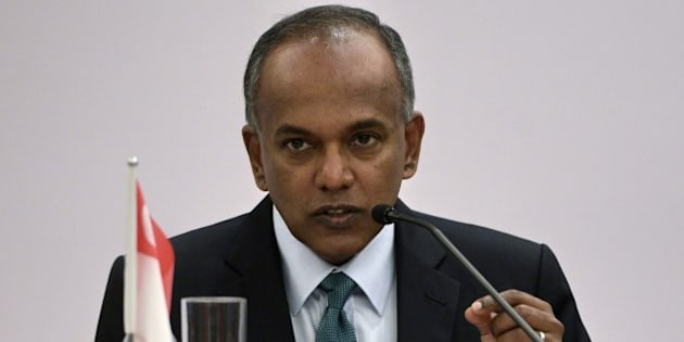 Singapore Foreign Minister and Minister for Law K. Shanmugam speaks at a joint press conference at the foreign ministry building during the eighth meeting of the Singapore-Australia Joint Ministerial Committee (SAJMC) held in Singapore on August 22, 2014. Officials from Singapore and Australia on August 22 said the two countries will enhance bilateral intelligence sharing to combat the growing threat posed by returning jihadist foreign fighters in Syria.  AFP PHOTO/ROSLAN RAHMAN        (Photo credit should read ROSLAN RAHMAN/AFP/Getty Images)