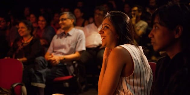 MUMBAI, MAHARASHTRA - AUGUST 13: Audiences react to stand-up comedians performing an act called Aisi-Taisi Democracy at the Canvas Laugh Club at The Palladium Mall in Lower Parel, Mumbai, India on August 13, 2014 (Photo by Karen Dias/For The Washington Post via Getty Images)