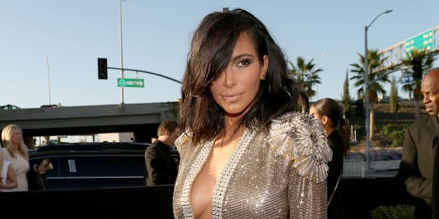 LOS ANGELES, CA - FEBRUARY 08:  TV personality Kim Kardashian attends The 57th Annual GRAMMY Awards at the STAPLES Center on February 8, 2015 in Los Angeles, California.  (Photo by Christopher Polk/WireImage)