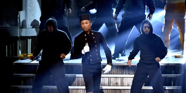 LOS ANGELES, CA - FEBRUARY 08:  Recording artist Pharrell Williams performs onstage during The 57th Annual GRAMMY Awards at the STAPLES Center on February 8, 2015 in Los Angeles, California.  (Photo by Kevin Winter/WireImage)