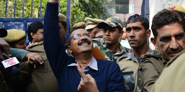 NEW DELHI, INDIA  FEBRUARY 8: Arvind Kejriwal after casting the vote in New Delhi.(Photo by Parveen Negi/India Today Group/Getty Images)