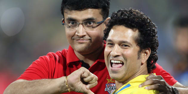 MUMBAI, INDIA - DECEMBER 20: Indian former cricketers and co-owners of Kerala Blasters, and co-owner of Atletico de Kolkata Sachin Tendulkar and Sourav Ganguly during a closing ceremony of ISL at DY Patil Stadium on December 20, 2014 in Mumbai, India.  (Photo by Satish Bate/Hindustan Times via Getty Images)