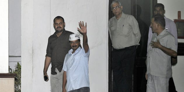 NEW DELHI, INDIA - NOVEMBER 3: Aam Aadmi Party chief Arvind Kejriwal comes out of LG House after meeting with Lt Governor Najeeb Jung on November 3, 2014 in New Delhi, India. Delhi tonight appeared headed for Assembly elections with BJP, AAP and Congress expressing their inability to form of a new government and sought a fresh mandate to end the eight-month-long political uncertainty. (Photo by Sonu Mehta/Hindustan Times via Getty Images)