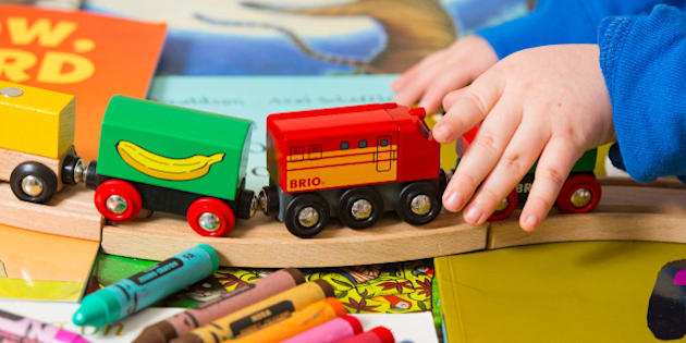 Generic stock photo shows a toddler playing with a selection of children's toys, including a train set and crayons. PRESS ASSOCIATION Photo. Picture date: Tuesday January 27, 2015. Photo credit should read: Dominic Lipinski/PA Wire