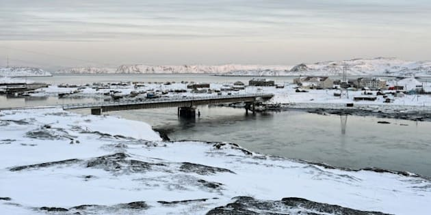 TERIBERKA, RUSSIA - FEBRUARY 3: Bay of Barents Sea in Teriberka settlement about 100 km away from the city of Murmansk on February 3, 2015 in Teriberka, Russia. Russian director Andrei Zvyagintsev's Oscar-nominated film 'Leviathan' was shoot in Teriberka. (Photo by Sergey Ermokhin/Kommersant Photo via Getty Images).