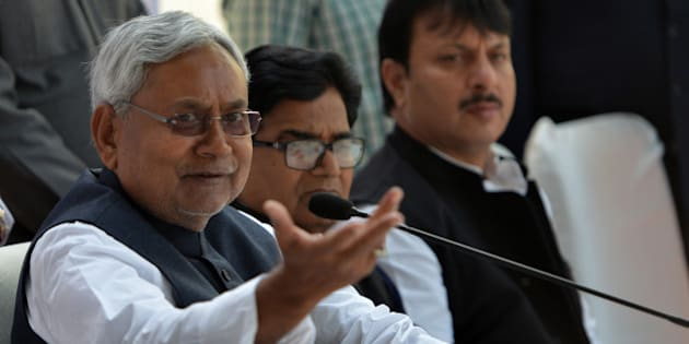 NEW DELHI, INDIA  DECEMBER 04: Nitish Kumar during  a press conference after meeting at Mulayam Singhs house in New Delhi.(Photo by Qamar Sibtain/India Today Group/Getty Images)