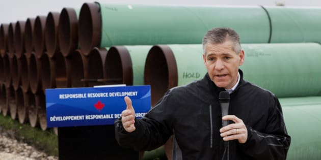 Russell 'Russ' Girling, president and chief executive officer of TransCanada Corp., speaks during a media event at the TransCanada Corp. Houston Lateral Project pipe yard in Mont Belvieu, Texas, U.S., on Wednesday, March 5, 2014. Girling said he remains 'optimistic' that market forces will see that the embattled Keystone XL oil sands pipeline is built, but the real question is when. Photographer: Scott Dalton/Bloomberg via Getty Images