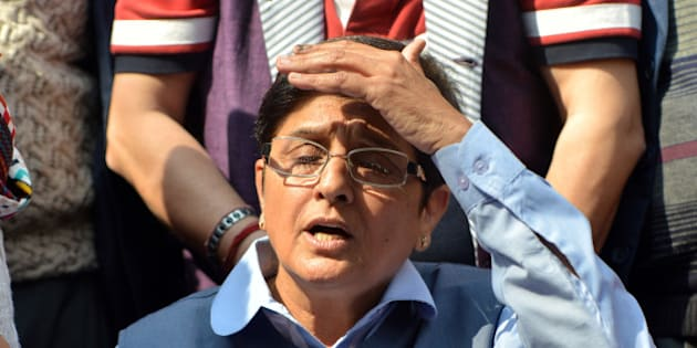 NEW DELHI,INDIA FEBRUARY 10: BJP chief ministerial candidate, Kiran Bedi after losing from her constituency in East Delhi.(Photo by K.Asif/India Today Group/Getty Images)