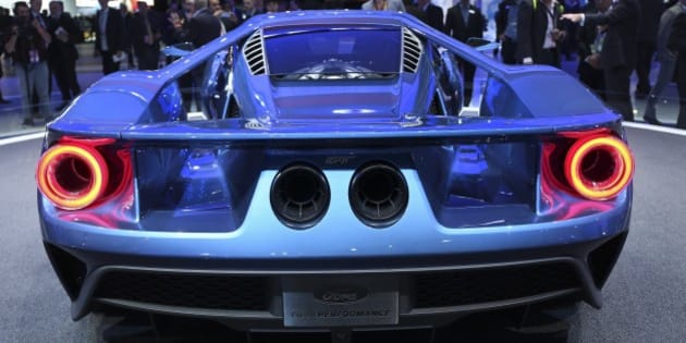 DETROIT, MI - JANUARY 12:  A rear view of the new Ford GT.