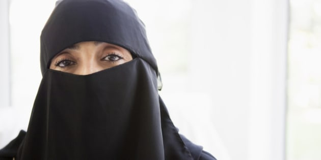Portrait of a middle eastern woman wearing a black