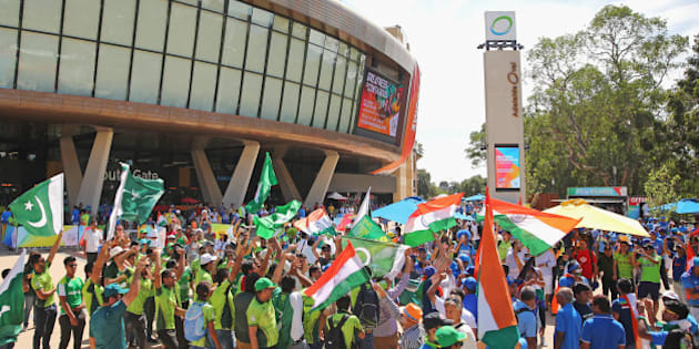 ADELAIDE, AUSTRALIA - FEBRUARY 15:  Pakistan and India supporters wave their flags outside of the ground during the 2015 ICC Cricket World Cup match between India and Pakistan at the Adelaide Oval on February 15, 2015 in Adelaide, Australia.  (Photo by Scott Barbour/Getty Images)