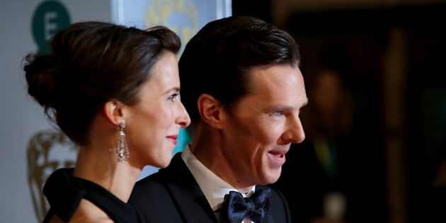 LONDON, ENGLAND - FEBRUARY 08: Sophie Hunter and Benedict Cumberbatch attend the EE British Academy Film Awards at The Royal Opera House on February 8, 2015 in London, England.  (Photo by Mike Marsland/WireImage)