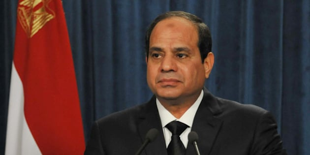 In this image released by the Egyptian Presidency in the early hours of Monday, Feb. 16, 2015, President Abdel-Fattah el-Sissi makes a statement after militants in Libya affiliated with the Islamic State group released a grisly video showing the beheading of several Egyptian Coptic Christians it had held hostage for weeks. Egypt said Monday it has launched airstrikes against Islamic State targets in Libya following the release of the video, marking the first time Cairo has publicly acknowledged taking military action in neighboring Libya, where extremist groups seen as a threat to both countries have taken root in recent years. (AP Photo/Egyptian Presidency)