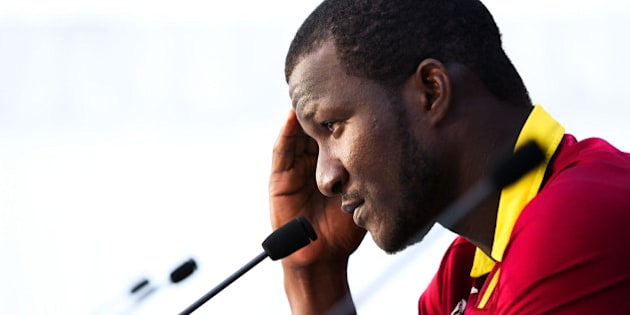NELSON, NEW ZEALAND - FEBRUARY 16:  Darren Sammy of the West Indies looks on at a press conference following the 2015 ICC Cricket World Cup match between the West Indies and Ireland at Saxton Field on February 16, 2015 in Nelson, New Zealand.  (Photo by Hagen Hopkins/Getty Images)