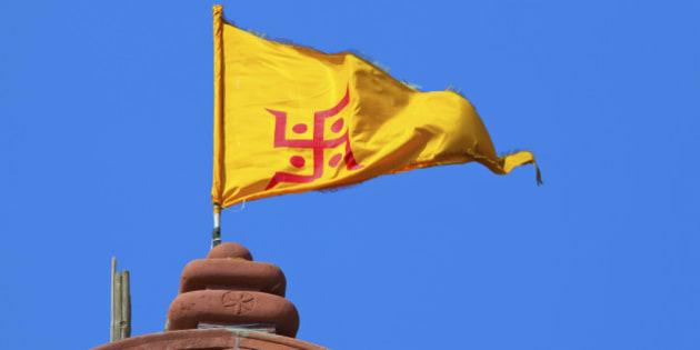 Jain(Hinduismus) Symbol on Yellow Flag - Jains are India Cultur