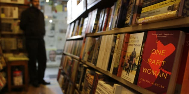 "A copy of the book ""One Part Woman"" stands on display at The Bookshop in New Delhi, India, Thursday, Jan. 15, 2015. The novelist Perumal Murugan went into hiding and said he has quit writing after his latest book about a woman's efforts to get pregnant with a stranger sparked virulent protests by right-wing Hindu and caste groups. ""Writer Perumal Murugan is dead. He will continue to live as a teacher,"" he wrote in a Facebook post in which he also promised to compensate booksellers for any losses. (AP Photo/Altaf Qadri)"