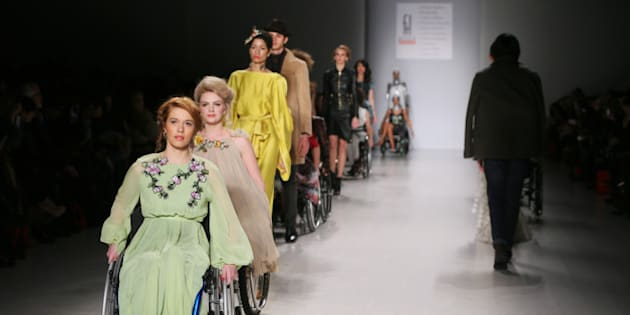 NEW YORK, NY - FEBRUARY 15: A models walk the runway at the FTL Moda fashion show during Mercedes-Benz Fashion Week Fall 2015 at The Salon at Lincoln Center on February 15, 2015 in New York City.  (Photo by Oleg Nikishin/Kommersant Photo via Getty Images)