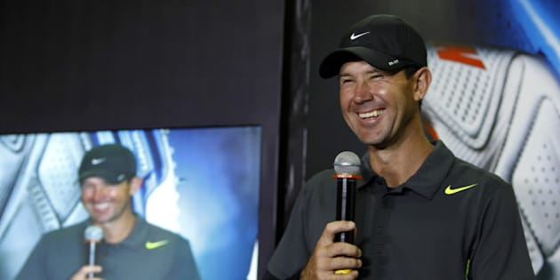 Former Australian cricketer Ricky Ponting smiles as he speaks during the launch of the new range of Nike sports shoes in Bangalore, India, Monday, April 1, 2013. (AP Photo/Aijaz Rahi)