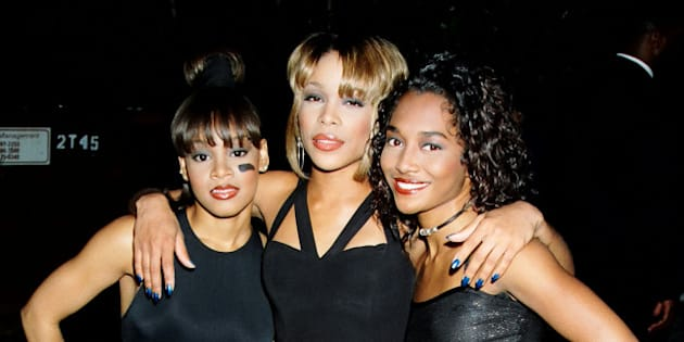 TLC during 1995 MTV Movie Awards in Los Angeles, California, United States. (Photo by Jeff Kravitz/FilmMagic, Inc)