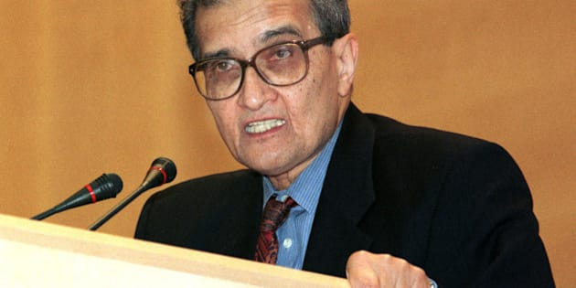 Nobel Laureate for Economics 1998, Indian Professor Amartya Sen addresses the 52nd World Health Assembly in Geneva, Switzerland on Tuesday, May 18, 1999. Sen stressed that the increased emphasis in the organization of seeing health as playing a central part in a wider development agenda. (AP Photo/Donald Stampfli)
