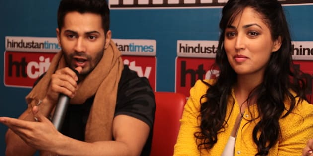 NEW DELHI, INDIA - FEBRUARY 2: Bollywood actors Varun Dhawan and Yami Gautam during an exclusive interview for their upcoming movie Badlapur at HT Media Office on February 2, 2015, New Delhi, India. (Photo by Shivam Saxena/Hindustan Times via Getty Images)
