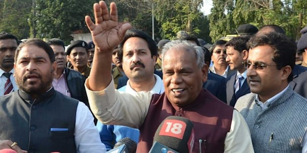 PATNA, INDIA - FEBRUARY 9: Bihar Chief Minister Jitan Ram Manjhi addresses the media after meeting Governor Keshari Nath Tripathi at Raj Bhawan, on February 9, 2015 in Patna, India. Manjhi, who has rebelled against JD(U) leadership, was expelled from the ruling JD-U, also called for a secret ballot on the floor of the House to elect the next chief minister. He said he didn't discuss politics with the PM, but lashed out at his estranged mentor Nitish Kumar. (Photo by Santosh Kumar/Hindustan Times via Getty Images)