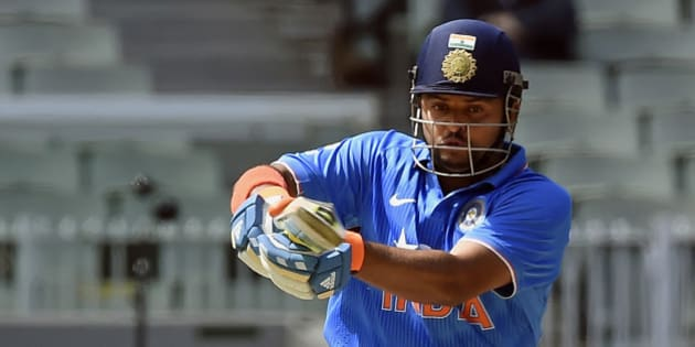 India's Suresh Raina hits a pull shot against Australia during their One Day International cricket match in Melbourne, Sunday, Jan. 18, 2015. (AP Photo/Andy Brownbill)