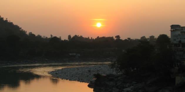 Sunset over the Ganga in Rishikesh